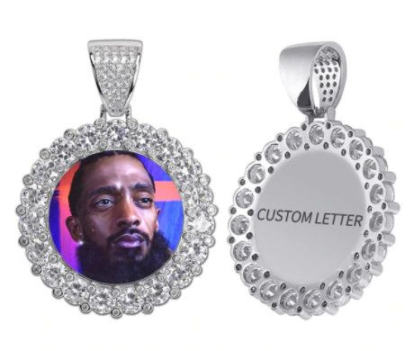 Custom Photo Memory Medallions Solid Pendant Necklace With Etsy Personalized Nameplate Necklace Custom Photo Hip Hop Jewelry