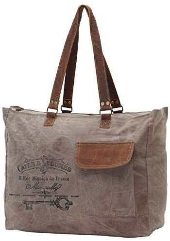 Myra Bags Cafe Legumes Upcycled Canvas Weekender Bag S 0772 Canvas Weekender Bag Weekender Bag Canvas Weekender Plus, who wants to worry about losing their bag on their connecting flight? pinterest