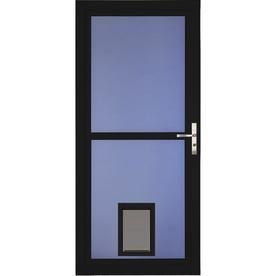 Larson Tradewinds Pet Door Black Full View Aluminum Storm Door Common 32 In X 81 In Actual 31 75 In X 79 75 In Lowes Com Aluminum Storm Doors Storm Door Pet Door