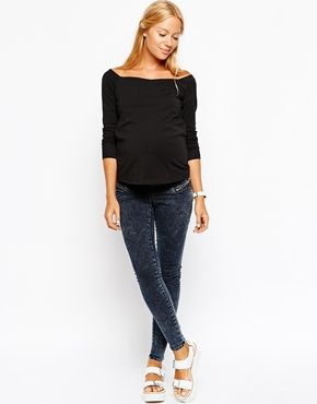 Image 4 of ASOS Maternity Bardot Top With Long Sleeves