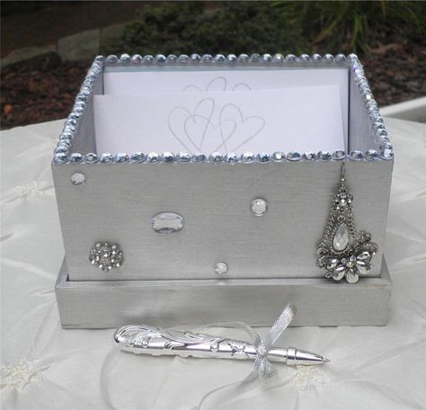 Guest book box ~ Well wishes can be added by your guests for a wedding of silver anniversary !