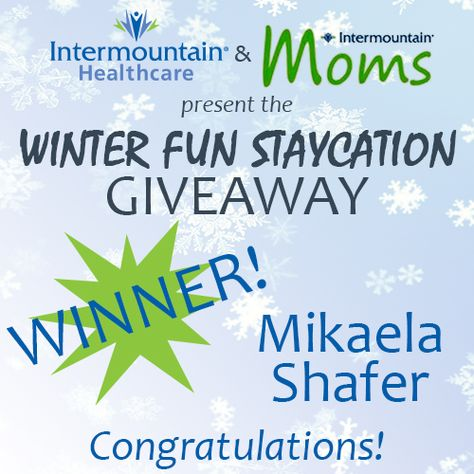 We have a winner! @Mika Platter gets to enjoy a staycation with her family in Park City. Check out her winning Pinterest board: http://www.pinterest.com/indieogden/intermountain-moms-winter-fun-staycation-giveaway/