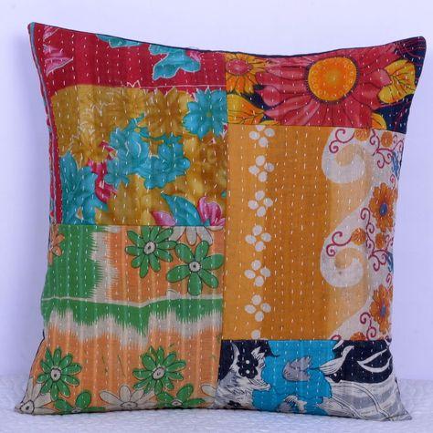 decorative boho accent unique pretty patchwork 16x16.htm kantha stitch cushion cover pure cotton pillow case patchwork  kantha stitch cushion cover pure cotton