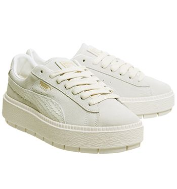 Puma Suede Platform Trace Trainers Whisper White Gold Animal ...