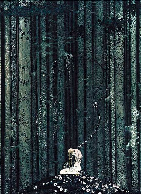 Vintage Illustration 'At Rest in the Dark Wood' - Kay Nielsen's - Scandinavian Fairy Tale Illustrations, 1914 - Haunting whimsy from the Golden Age of illustration. Kay Nielsen, Art And Illustration, Fairy Tale Illustrations, Botanical Illustration, East Of The Sun, Fairytale Art, Fairytale Drawings, Art Graphique, Dark Wood