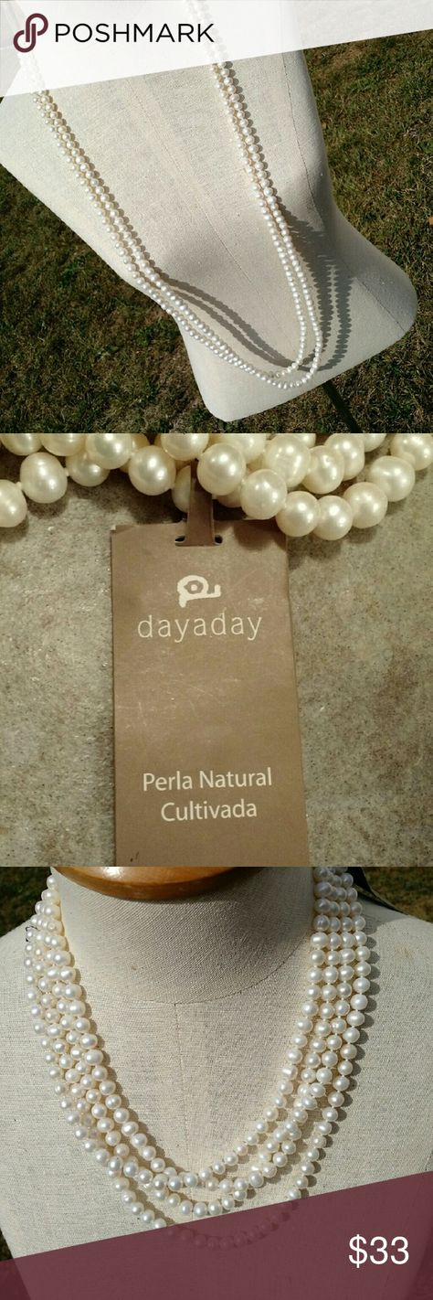 DayADay Endless Pearl Necklace From Brazil, this gorgeous New with tags strand of natural cultivated petals from dayaday can be worn in two long strands, 4 strands, or even a super wide bracelet. No clasp, endless super long loop. Would make a great gift. DayADay Natural Cultivated Endless Pearl Necklace. dayaday Jewelry Necklaces