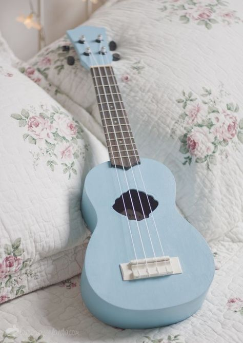 Light Blue Aesthetic, Blue Aesthetic Pastel, Aesthetic Colors, Aesthetic Pictures, Bedroom Wall Collage, Photo Wall Collage, Ukulele Design, Ukulele Art, Guitar Art