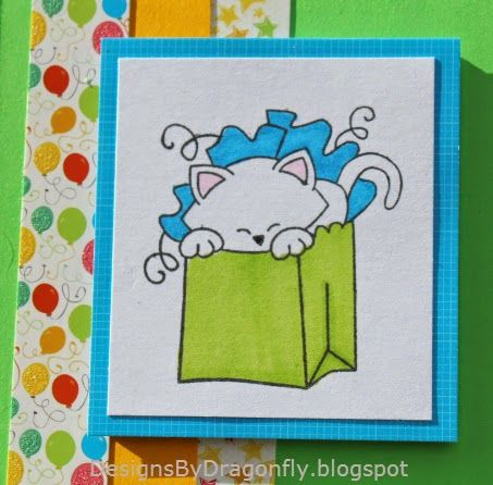 GirlRacer Scrap - Shaker Kitty Card using Newtonu0027s Birthday Bash - birthday card sample