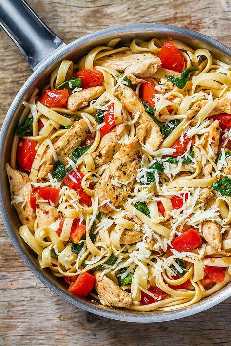 Chicken Pasta Recipe with Tomato and Spinach — Eatwell101