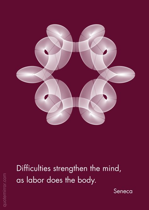 Difficulties strengthen the mind, as labor does the body. –Seneca #difficulties #mind http://www.quotemirror.com/seneca-collection-1/difficulties/