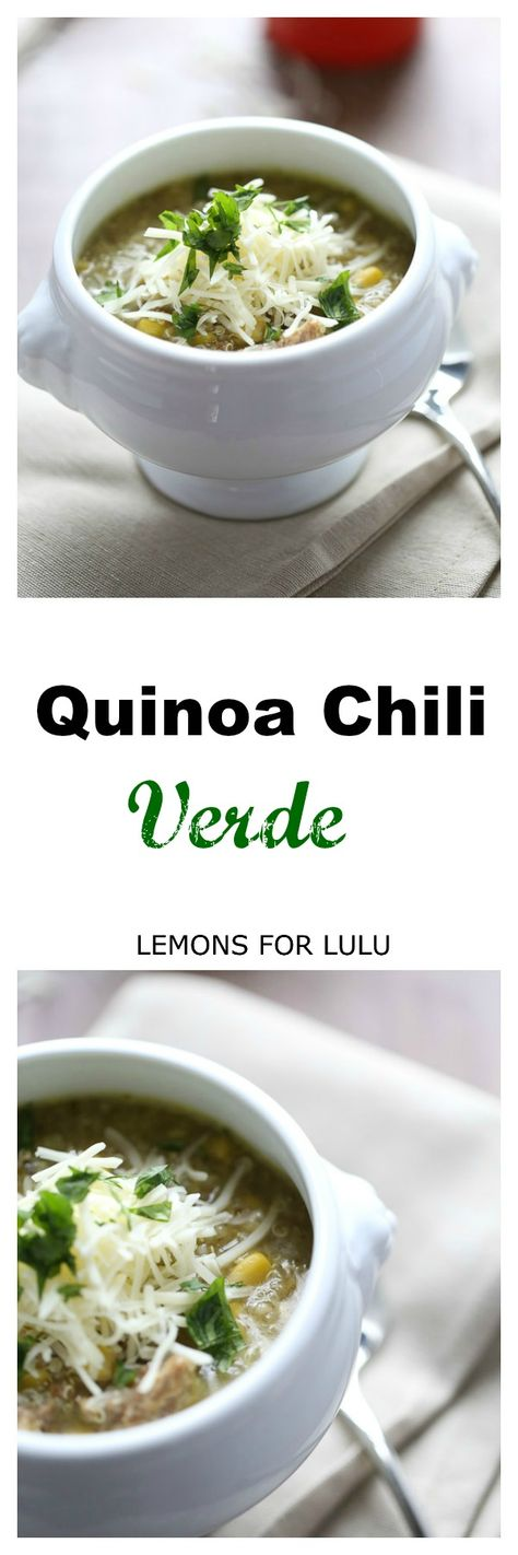 Quinoa Chili Verde has smoky vegetables, flavorful pork and satisfying quinoa! It's the perfect meal! lemonsforlulu.com