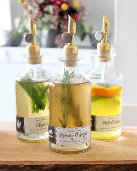 Infused Simple Syrup Recipes with Free Labels - Tonality Designs - - Six infused simple syrup recipes plus free print-it-yourself labels to package your syrups. Rosemary, jalapeño, orange, mint are a few of the flavors. Rosemary Simple Syrup, Mint Simple Syrup, Simple Syrup Recipe Drinks, Yummy Drinks, Cocktail Syrups, Cocktail Recipes, Margarita Recipes, Mocktail Bar, Mojito Recipe