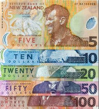 New Zealand Dollars...we must have the most colourful currency in the world...