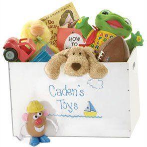 MyBambino Boys Personalized Train Toy Storage Box and Bin Newborn Gift