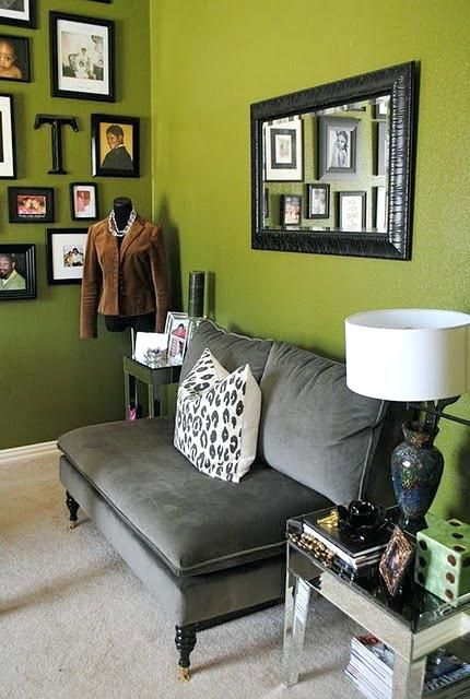 Living Room Olive Green Accent Wall Living Room Little Grey Couch