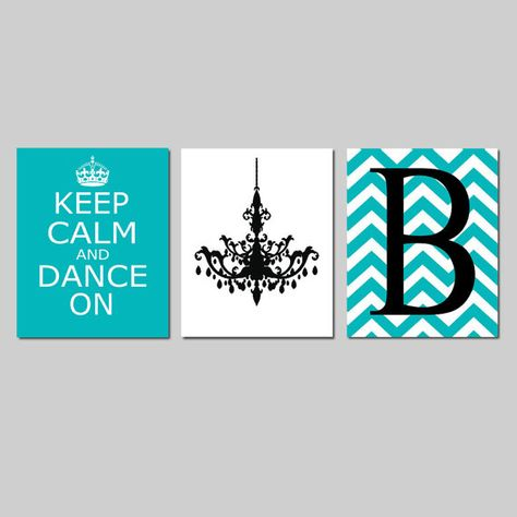 Keep Calm and Dance On Chevron Monogram Initial by Tessyla on Etsy