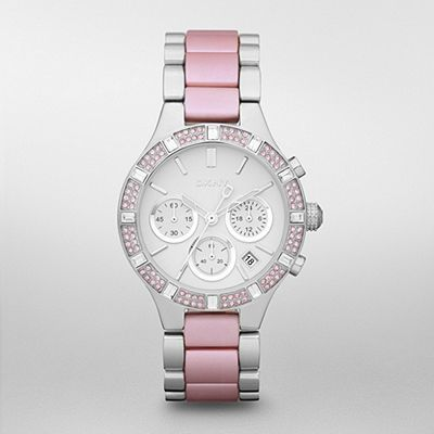 DKNY Watch, Women's Chronograph Stainless Steel and Pink Aluminum Bracelet - Featured Brands - Jewelry & Watches - Macy's