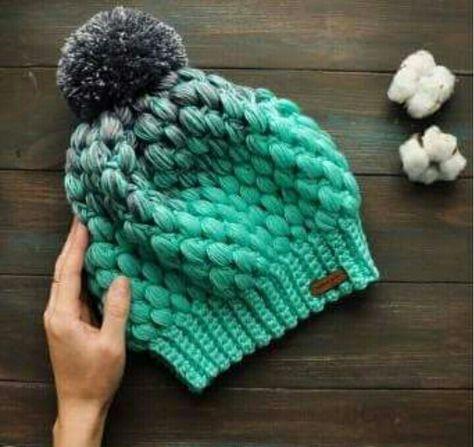 Berretto Uncinetto Punto Puff Free Crochet Uncinetto Hacer