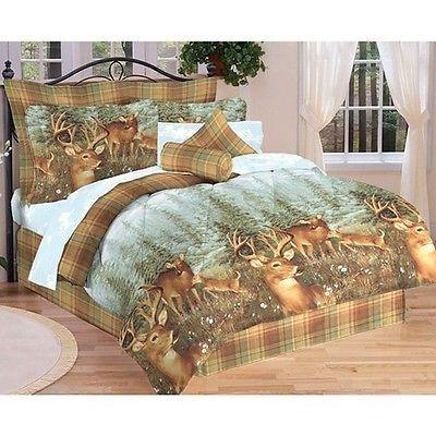 Northwood Woodland Lodge Cabin Deer Creek Bed In A Bag Comforter Sheet Set Bed In A Bag Bedding Sets Bed