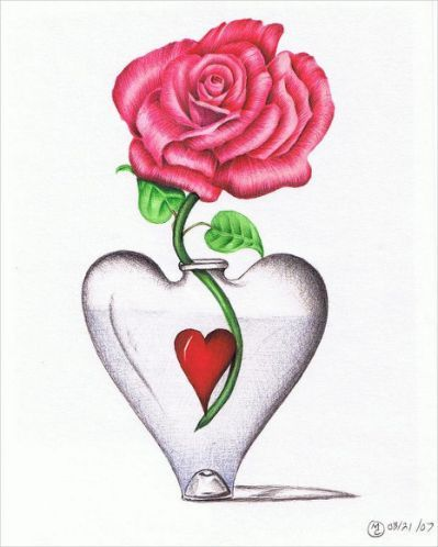 20 Heart Drawings Art Ideas Flower Drawing Heart Drawing Greeting Card Art