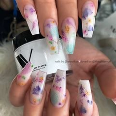 Milk Bath Nails Milky White With Encapsulated Dried Flowers On Coffin Nails Nail Ar Coffin Nails Designs Best Acrylic Nails Pretty Acrylic Nails