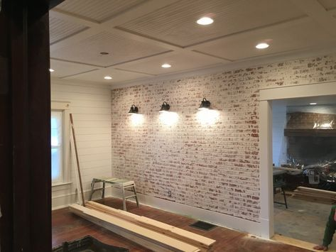How To Build A Faux Brick Wall The Restoring House Faux Brick Walls Diy Brick Wall Faux Brick Wall Panels