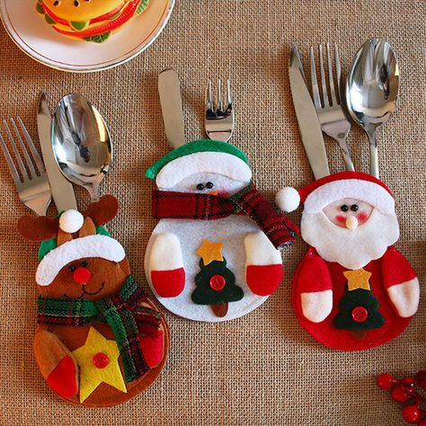 182 aud 5x christmas santa holder dinner table decor cutlery silverware bag pockets gift ebay home garden - Ebay Christmas Table Decorations