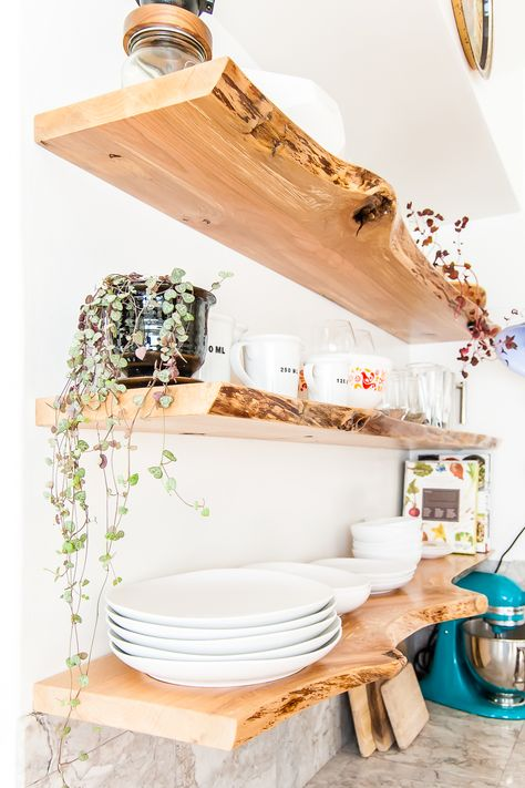 Want to build your own floating shelves or floating corner shelves? Here are 6 d… Want to build your own floating shelves or floating corner shelves? Here are 6 different tutorials that show you how to build DIY floating shelves. Live Edge Shelves, Floating Shelves Bathroom, Corner Shelves Kitchen, Glass Shelves, Diy Wall Shelves, Building Floating Shelves, How To Make Floating Shelves, Reclaimed Wood Floating Shelves, Window Shelves