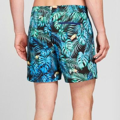 c1260ba311 Update your swimwear with the fun vibe of these Shark-Print Swim Trunks  from Goodfellow and Co. Made from recycled fabric with mesh lining …
