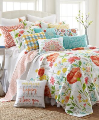 Levtex Home Laurel Coral Sunshine Happy Pillow Reviews Pillows Bed Bath Macy S King Quilt Sets Coral Quilt Quilt Sets