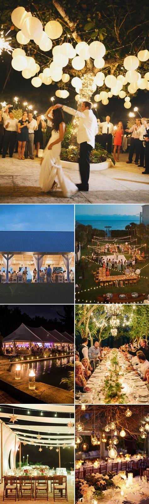 28 Beautiful Spring Outdoor Reception Decor Ideas - Night Reception