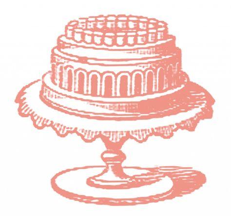 Vintage Image Fancy Cake on Stand