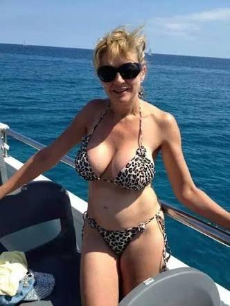 Mature micro string bikini mom