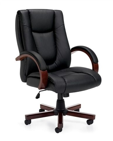 Offices To Go Wood And Leather Executive Conference Chair 11300b Office Chair Wood Office Chair Black Office Chair