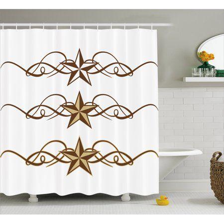 Primitive Country Shower Curtain Western Stars Scroll Design Ornate Swirls Antique Artist Primitive Bathrooms Primitive Decorating Country Bathroom Decor Sets