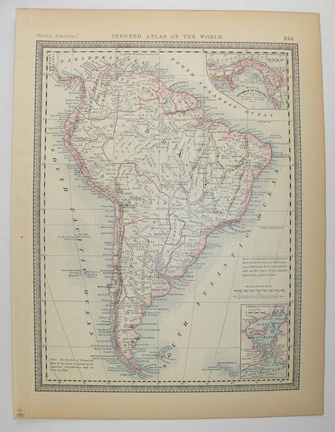 1881 South America Map South America Decor Antique Map of South