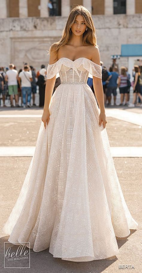 BERTA Wedding Dresses 2019 - Athens Bridal Collection | Off the shoulder ball gown wedding dress with corset bodice | A-line Cold shoulder sleeve bridal gown with sweetheart neckline | Bohemian princess wedding gown #weddingdress#weddingdresses #bridalgown #bridal#bridalgowns #weddinggown#bridetobe #weddings #bride #weddinginspiration #dreamdress #fashionista#weddingideas #bridalcollection#bridaldress #fashion #bellethemagazine #ido #dress #wedding gown corset BERTA Wedding Dresses Fall 2019 - A
