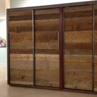 reclaimed wood wardrobe with sliding doors