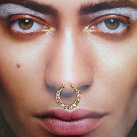 Soldfaux Septum Ring In Goldiridescent Crystals Boutique My
