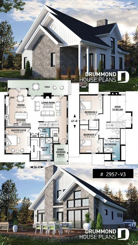 3 Bedroom Mountain Style House Plan With Panoramic View Cathedral Ceiling Master Suite And Fireplace Bedroomdesig Cottage Plan Sims House Plans House Plans
