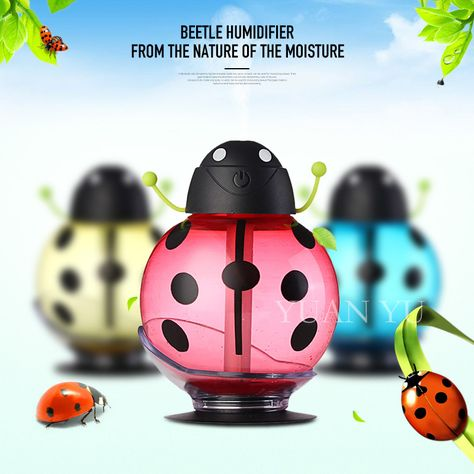 8b8643998 2017 New 260ML Ladybug Ultrasonic Humidifier Portable Office Home Car Mini USB  Air Diffuser Mist Maker DC 5V Led Light Purifier