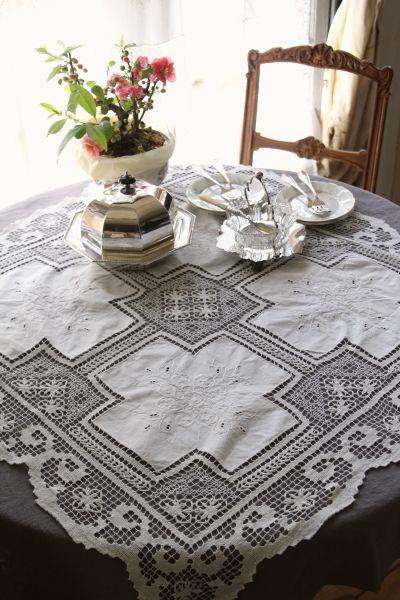 アンティークコットンテーブルクロス フィレレース 花の刺繍 フランス 花 刺繍 テーブルクロス アンティーク テーブル