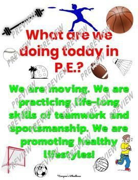 Physical Education Poster Set Expectations Sportsmanship Education Poster Physical Education Physical Education Bulletin Boards