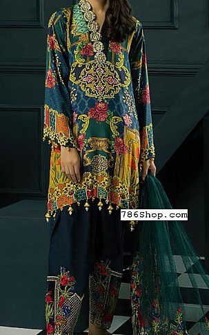 Teal Blue Grip Silk Suit   Buy Adans Libas Pakistani Dresses