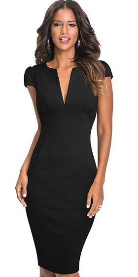 7c961abab Compre Vestido Tubinho Com Decote V Preto Estilo Social | UFashionShop