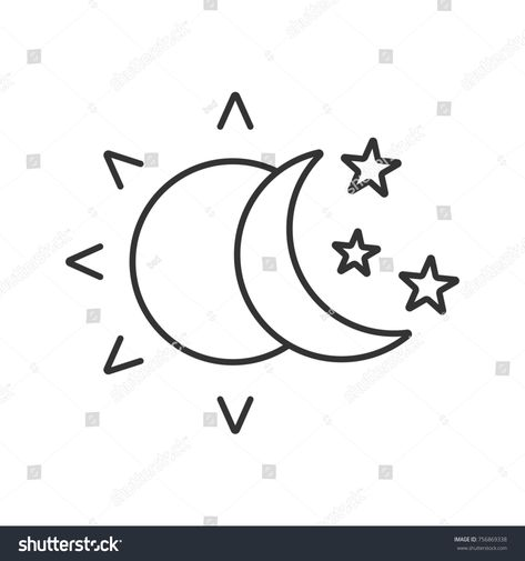 Sun and moon with stars linear icon. Thin line illustration. Day and night. Contour symbol. Raster isolated outline drawing
