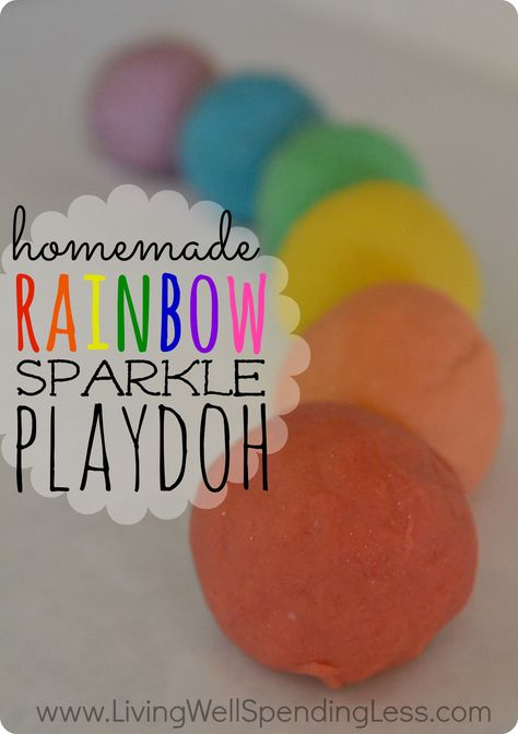 Awesome homemade play dough recipe!  Uses essential oils for scent & sparkle for an extra fun touch!  GREAT homemade gift idea for kids!