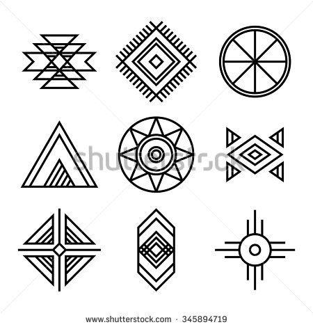 Geometric icons isolated on white Native American Indians Tribal Symbols Set. Geometric icons isolated on white