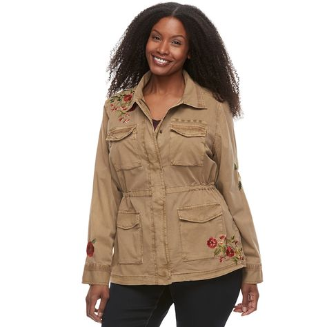 5f84821797530 Plus Size SONOMA Goods for Life™ Embroidered Utility Jacket ...