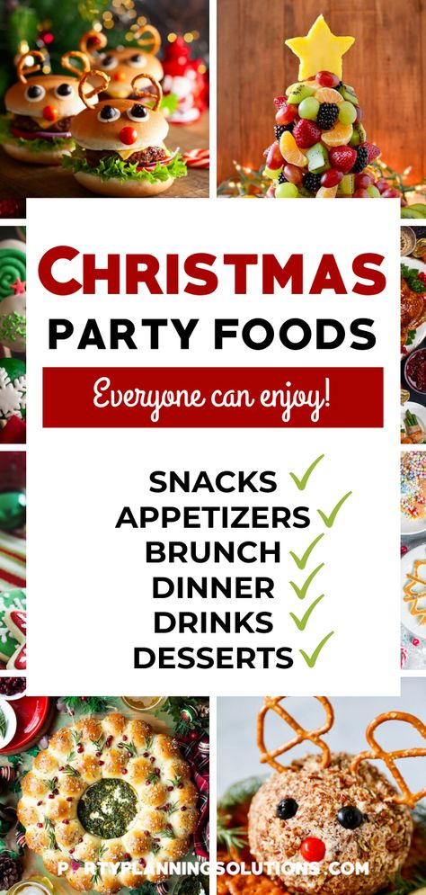 We've got a variety of Christmas party food ideas from tasty sides to simple snacks to mouth-watering desserts, and everything in between. PIN NOW to make menu planning for your holiday festivities super simple! | holiday food christmas party appetizers | christmas party food simple holiday appetizers #christmasparty #christmaspartyideas #partyfood #christmaspartyfood #partyideas